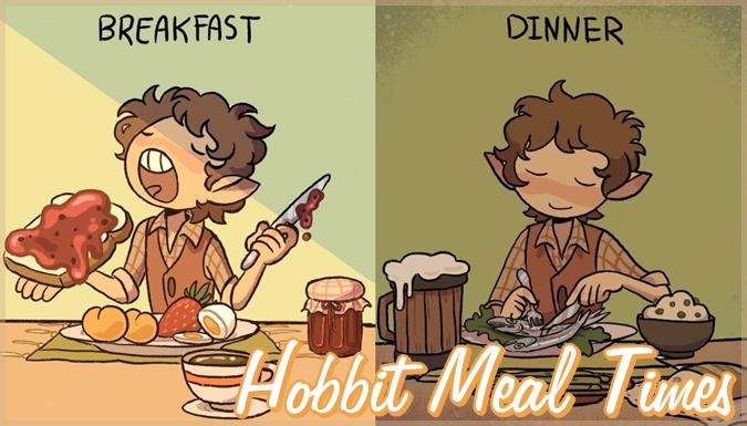 ホビットの1日の食事を描いた愛らしいイラスト集