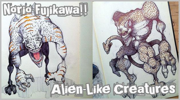 日本人による奇妙で恐ろしいモンスターたちのスケッチ作品集
