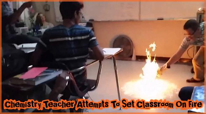科学教師が行った大迫力の授業がカッコよすぎる!教室が炎の海に!