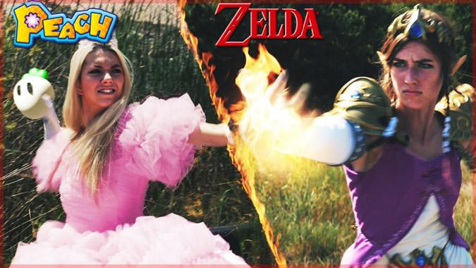 ピーチ姫VSゼルダ姫の実写版バトル!女性同士の熾烈な戦いがここに!