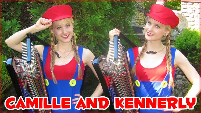 双子の美人ハープ奏者によるギークな音楽をコスプレ姿で演奏する動画集!