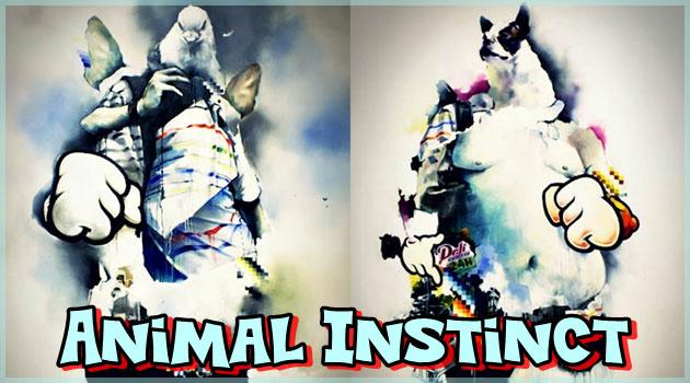 動物の顔をした人間のエネルギッシュなコラージュ油彩画