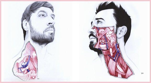 人間の内部を描いた肖像画!解剖図のようなイラスト作品!