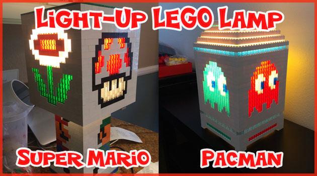 レトロゲームのキャラクターが描かれた可愛いレゴランプ