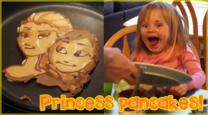 ディズニープリンセスのパンケーキアートを作るお父さん!
