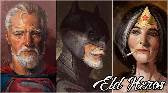 スーパーヒーローの年老いた姿を描いた超渋すぎるイラスト作品