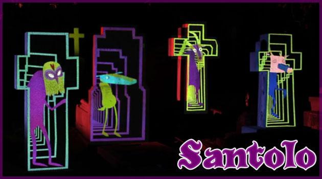 墓地を舞台に死者を主役にした愉快な3Dマッピング作品