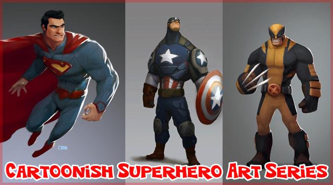 人気スーパーヒーローをカートゥーン・スタイルで描いたイラスト作品