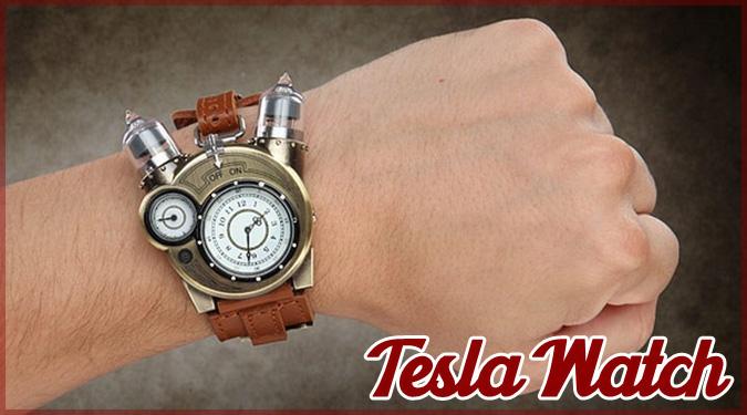 スチームパンカーにピッタリなアナログ腕時計「Tesla Watch」