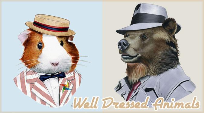 スタイリッシュな服装を身に付けた野生動物たちのイラスト作品