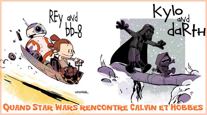 カルビンとホッブス風に描かれたスターウォーズのキャラクターたち!