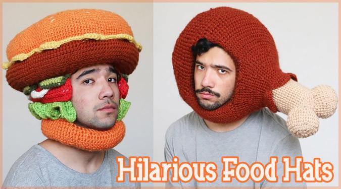 かぎ針編みで編まれた食べ物の形をした面白い帽子シリーズ