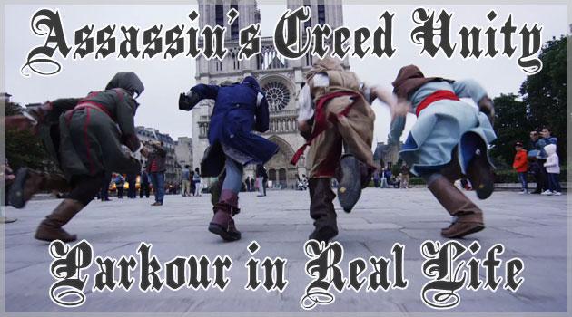 パリの街中を4人のアサシンたちがパルクールで駆け抜ける