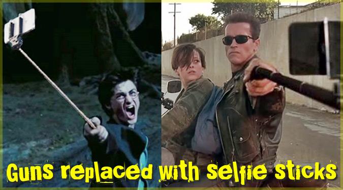 映画の武器を構えるシーンを自撮り棒を持つ姿に置き換えた画像集!