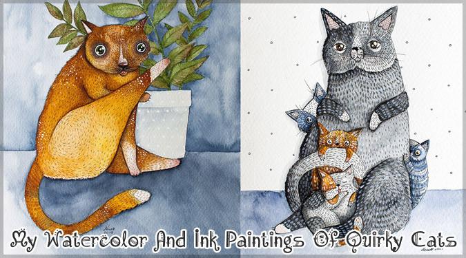 水彩とインクで描いた少し風変わりなネコの絵画作品