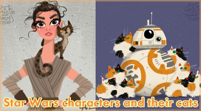スターウォーズのキャラクターとネコを描いた温かいイラスト作品