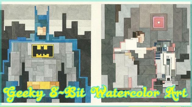 有名キャラクターを8bit風に描いた水彩アート作品!