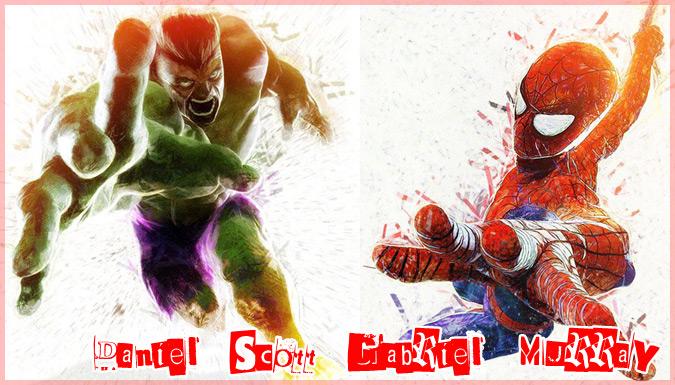 マーベルコミックのスーパーヒーローを水彩風に描いたイラスト作品