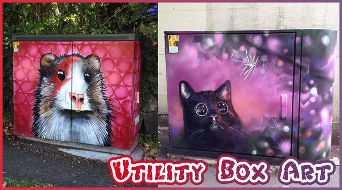 街中の電気キャビネットをカラフルな動物に塗り替えたストリートアート
