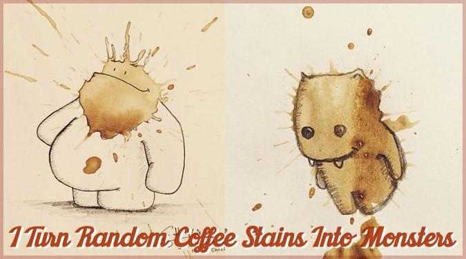 コーヒーの染みから誕生した可愛いモンスターたちのアート作品