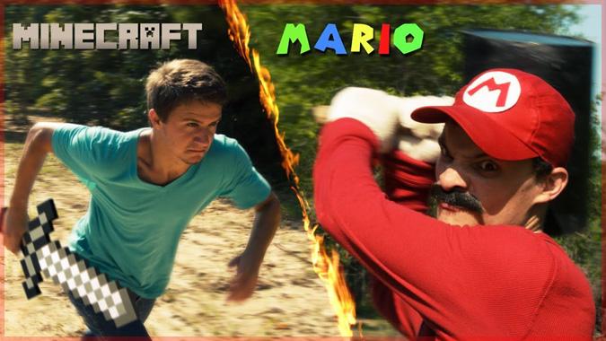マリオとマイクラのスティーブによる1UPキノコを賭けた熱い戦い!