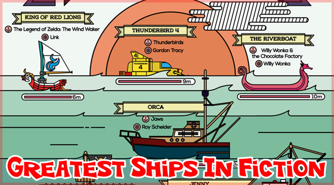 有名なフィクション作品の船や潜水艦の大きさを比べたイラスト!