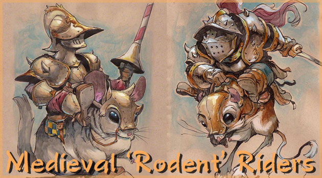 ハムスターやネズミに乗った中世の騎士を描いた可愛い作品