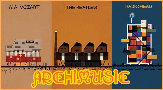有名な音楽家やバンドを建築物として描いたユニークな作品!