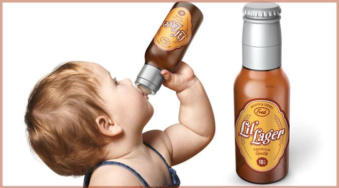 あなたの赤ちゃんもビール好きに!ビール瓶のような哺乳瓶!