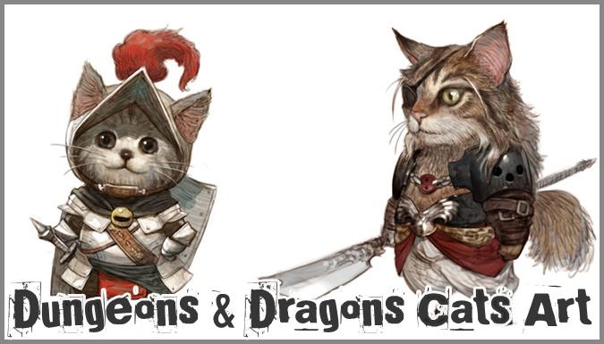 ダンジョンズ&ドラゴンズのクラスに扮するネコたちのイラスト作品集