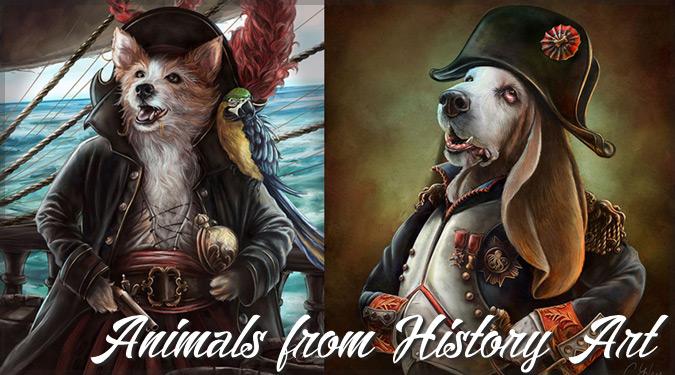 有名な歴史上の人物として描かれた犬猫たちのユニークなイラスト作品