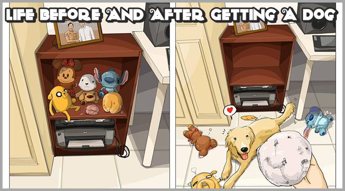 犬を飼い始める前と後の生活をイラストにした作品集!