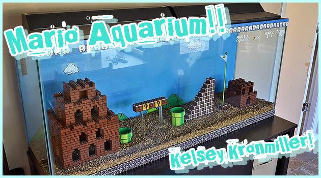 レゴでスーパーマリオブラザーズの世界を再現した水槽