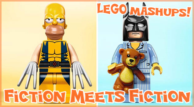 レゴの胴体に人気キャラクターの頭を組み合わせた作品