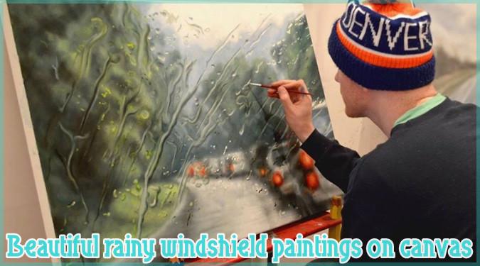 車のフロントガラスから見た雨の日の風景を描いたリアルな絵画作品