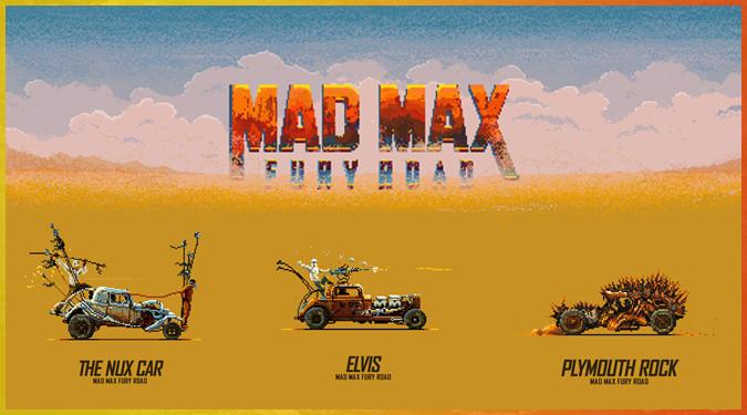 マッドマックス4の様々な車を描いたピクセルGIFファンアート!