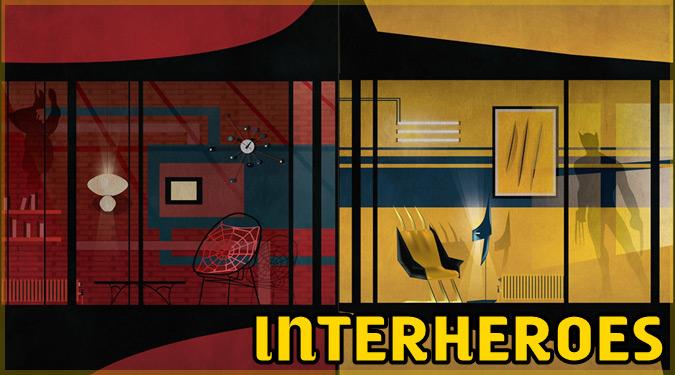 スーパーヒーローの自宅のインテリアを描いたイラスト「INTERHEROES」