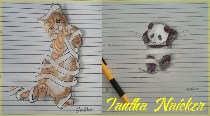 罫線入りノートの中で遊ぶ動物たちの可愛らしいイラスト作品!