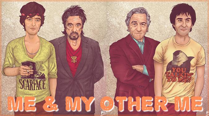 超大御所セレブたちの現在と若い頃の姿を描いたイラストシリーズ