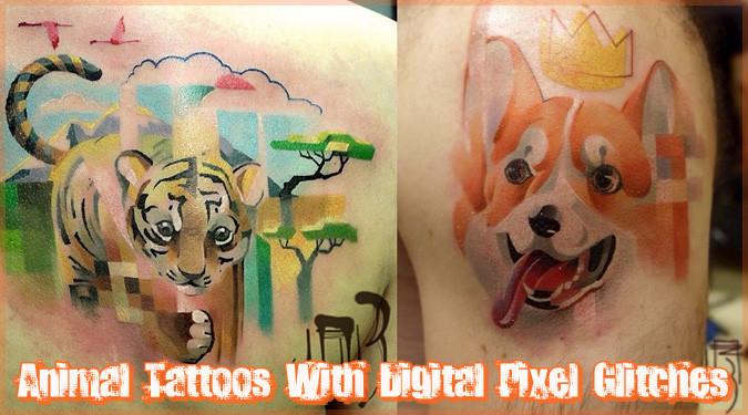 動物のタトゥーにピクセルグリッチを加えた面白いデザイン集!