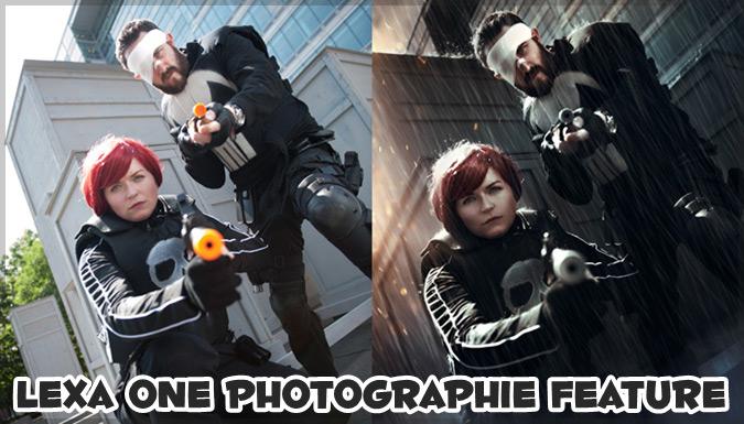 コスプレ写真の加工前と加工後を比較した写真シリーズ
