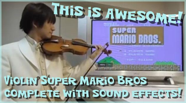 バイオリンでスーパーマリオの音楽と効果音を再現する男!