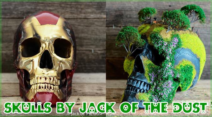 人間の頭蓋骨を盆栽や人気キャラクターと融合したスカルアート!