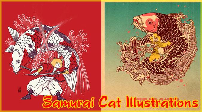 日本文化に影響を受けて制作されたネコ侍のイラストシリーズ