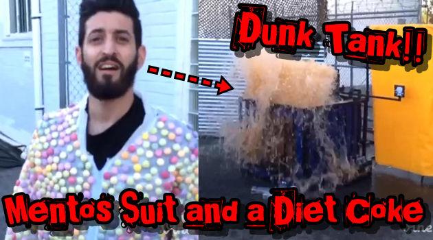 メントススーツを着てコーラ風呂に落ちていく男の人気動画!