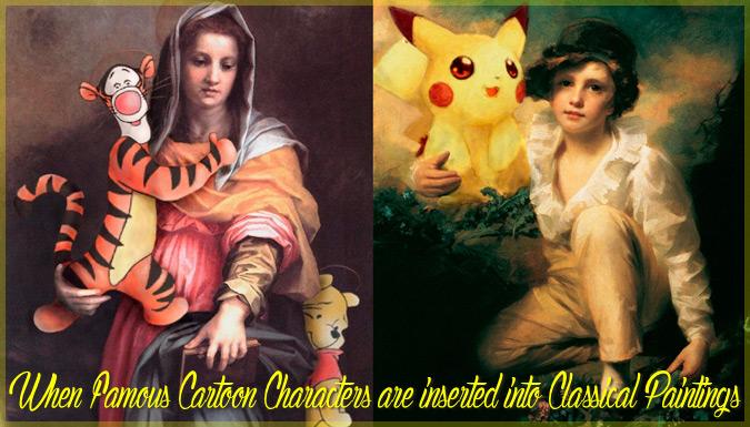 有名な漫画キャラクターを古典絵画の中に挿入したマッシュアップ作品集