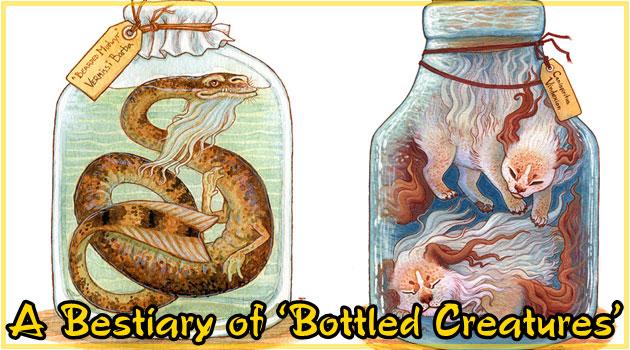 独特な雰囲気が漂う幻想的な生物の瓶詰めイラスト作品