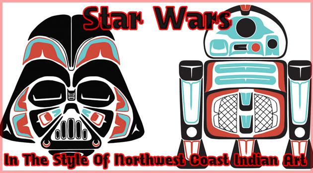 スター・ウォーズを北西海岸インディアンのスタイルに描いた作品