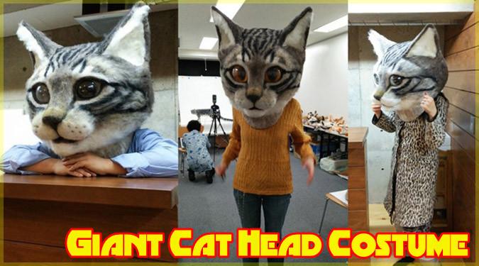 ネコ好きには堪らない!インパクト抜群の羊毛フェルト製リアル猫ヘッド!