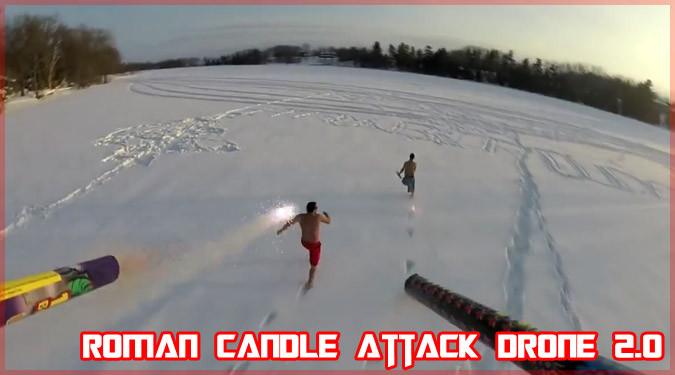 クアドロコプターに花火を搭載して逃げ回る大人たちの動画!
